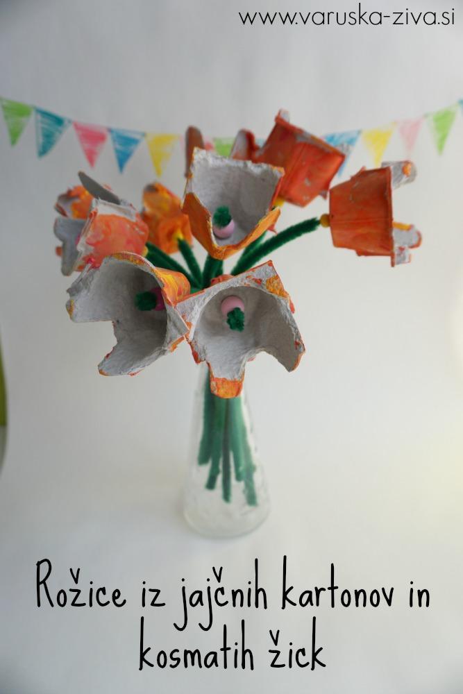 Rožice iz jajčnih kartonov in kosmatih žičk, Ustvarjanje ob materinskem dnevu