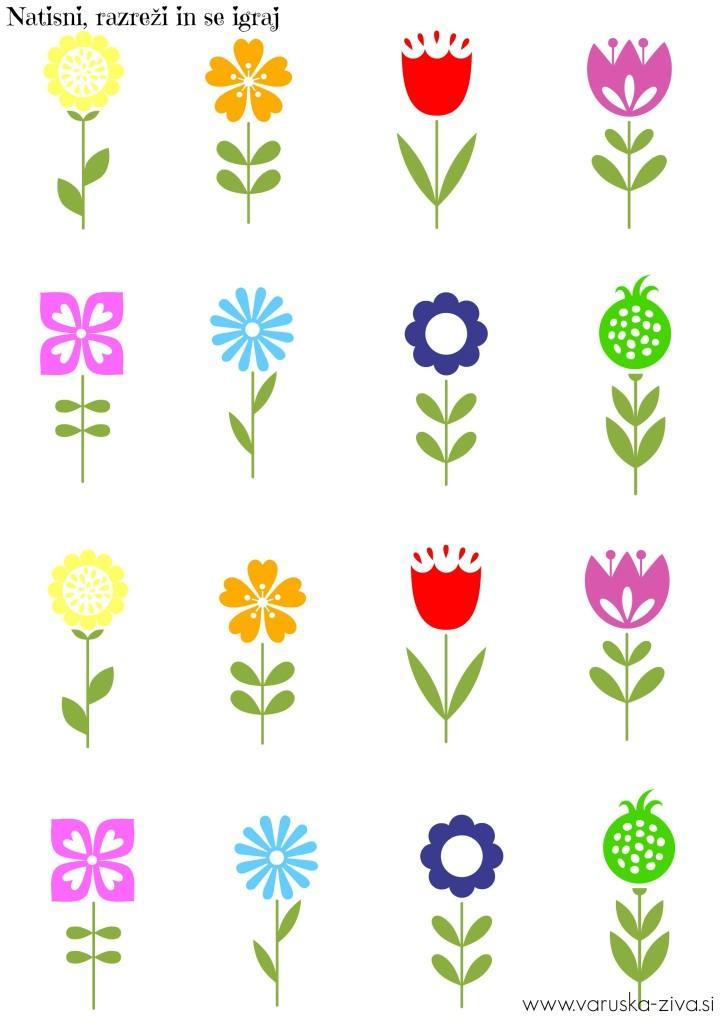 Pomladna predloga za tisk - rožice, Matematika za malčke