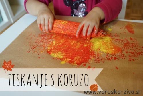 Tiskanje s koruzo - jesenske aktivnosti za otroke