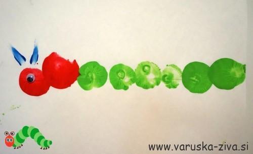 Zelo lačna gosenica - tiskanje z baloni