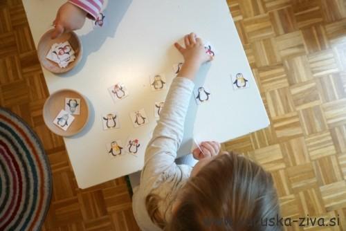 Prirejanje pingvinov, zimski spomin - matematika za malčke