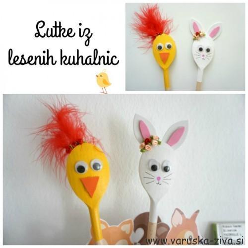 Enostavne lutke iz lesenih kuhalnic - piščanček in zajček