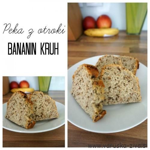 Enostaven bananin kruh - peka z otroki