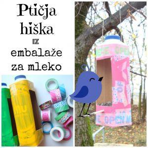 Ptičja hiška iz embalaže za mleko