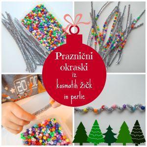 Novoletni okraski iz kosmatih žičk in perlic