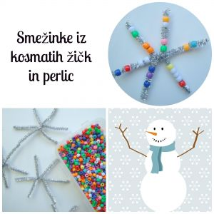 Snežinke iz kosmatih žičk in perlic