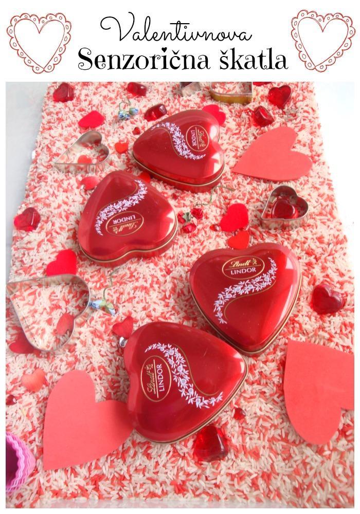 Valentinova senzorična škatla - Valentinove dejavnosti za otroke