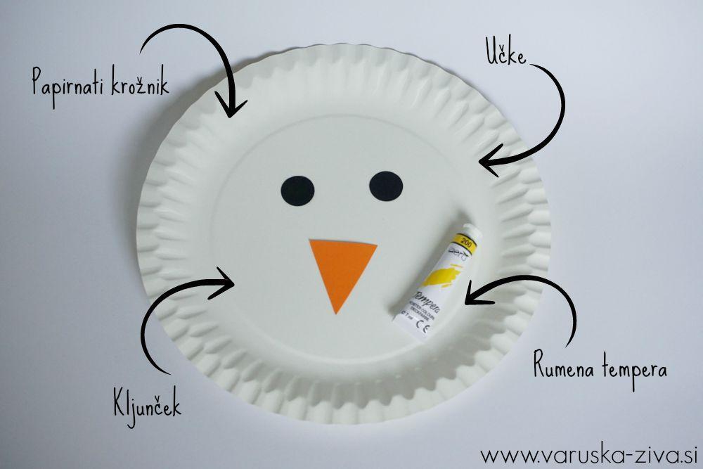 Ustvarjalna škatlica za otroke - piščanček iz papirnatega krožnika