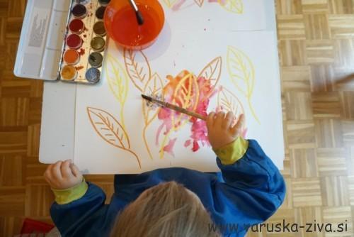 Slikanje jesenskih listkov - jesenska aktivnost za otroke
