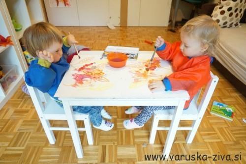 Slikanje jesenih slik z vodenkami