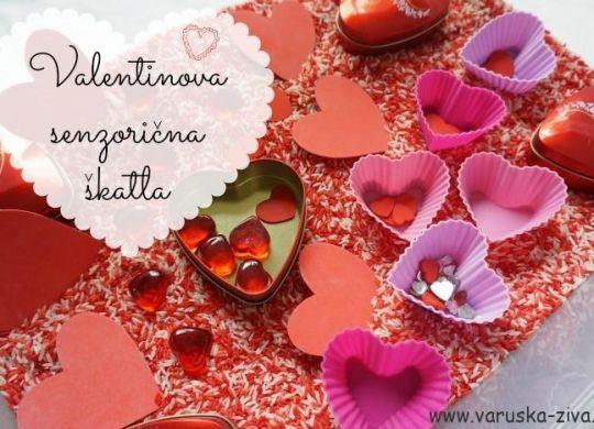Valentinova senzorična škatla - valentivnove aktivnosti za otroke