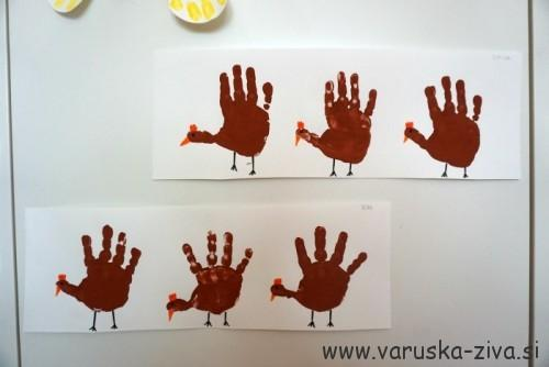 Velikonočne kokoške iz odtisov rokic