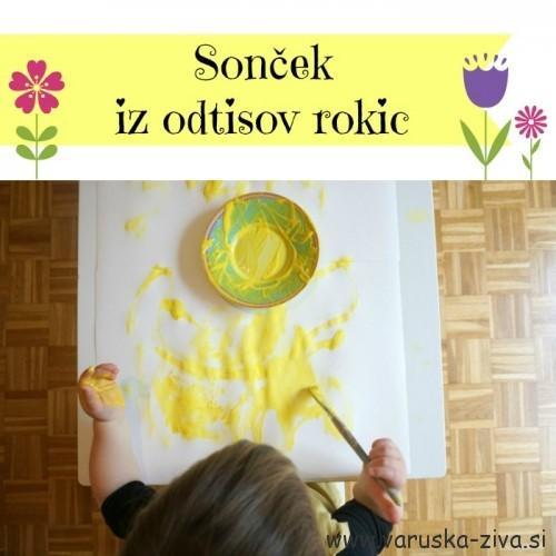 Sonček iz odtisov rokic - pomladne aktivnosti za otroke
