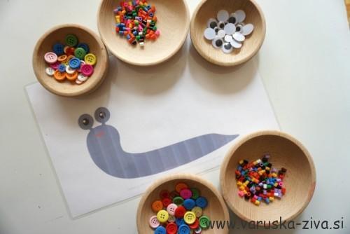 Predloga za plastelin - polžek