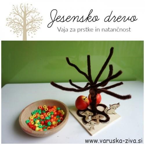 Jesensko drevo - jesenske aktivnosti za otroke - fina motorika