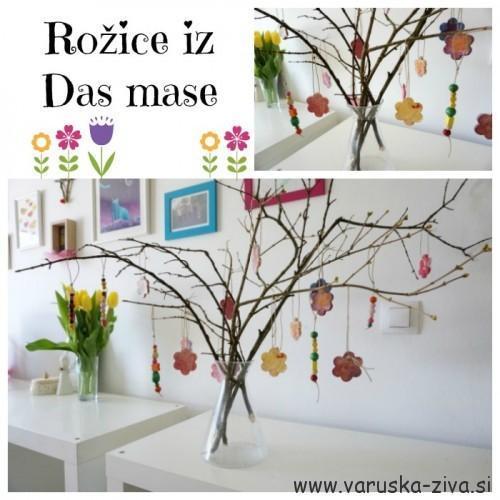 Rožice iz Das mase - enostavna pomladna dekoracija