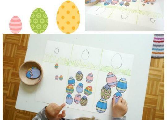 Razvrščanje jajčk po velikosti - mali, srednji, velik