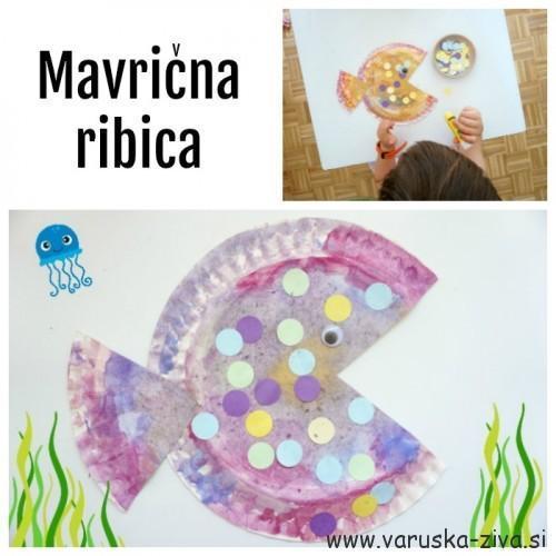 Mavrična ribica iz papirnatega krožnika