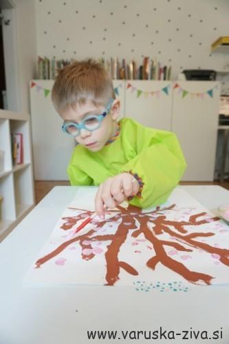 Slikanje z otroki - češnjevo drevo