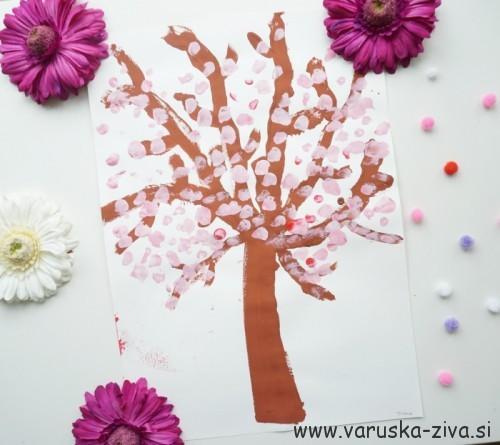 Ustvarjanje z otroki - češnjevo drevo - pomladne aktivnosti