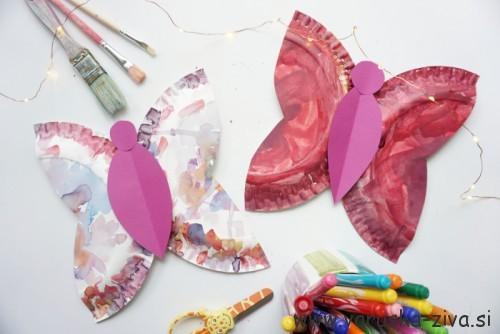 Metuljček iz papirnatega krožnika - pomladne likovne aktivnosti za otroke