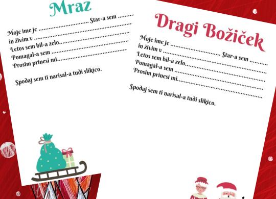Pismo za Božička ali dedka Mraza - z besedilom