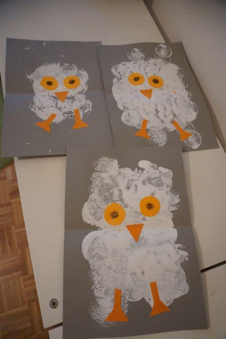 Snežna sova - enostvna likovna zimska aktivnost