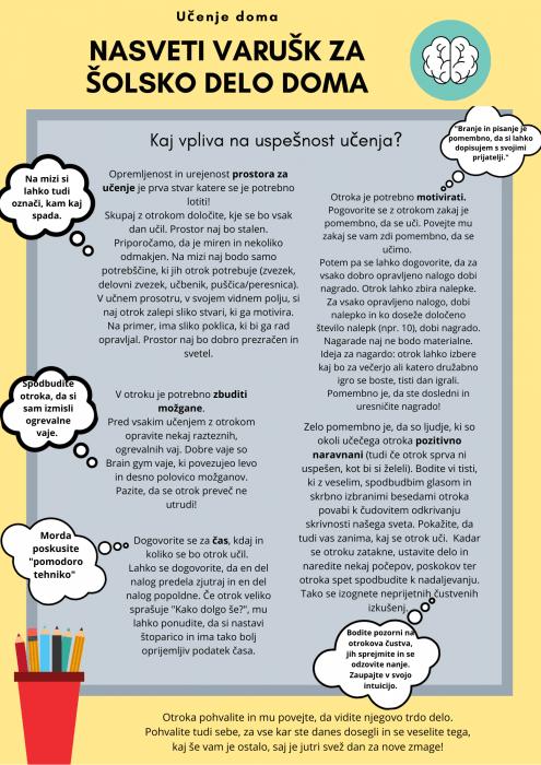 Nasveti varušk za šolsko delo doma