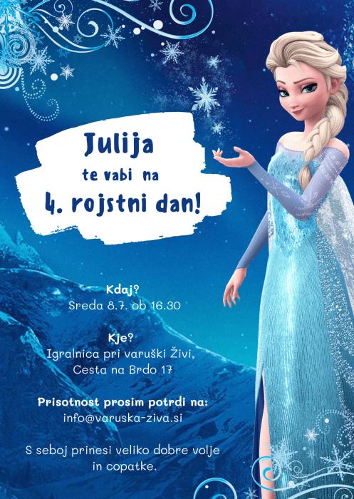 Vabilo na rojstni dan - Ledeno kraljestvo - Frozen